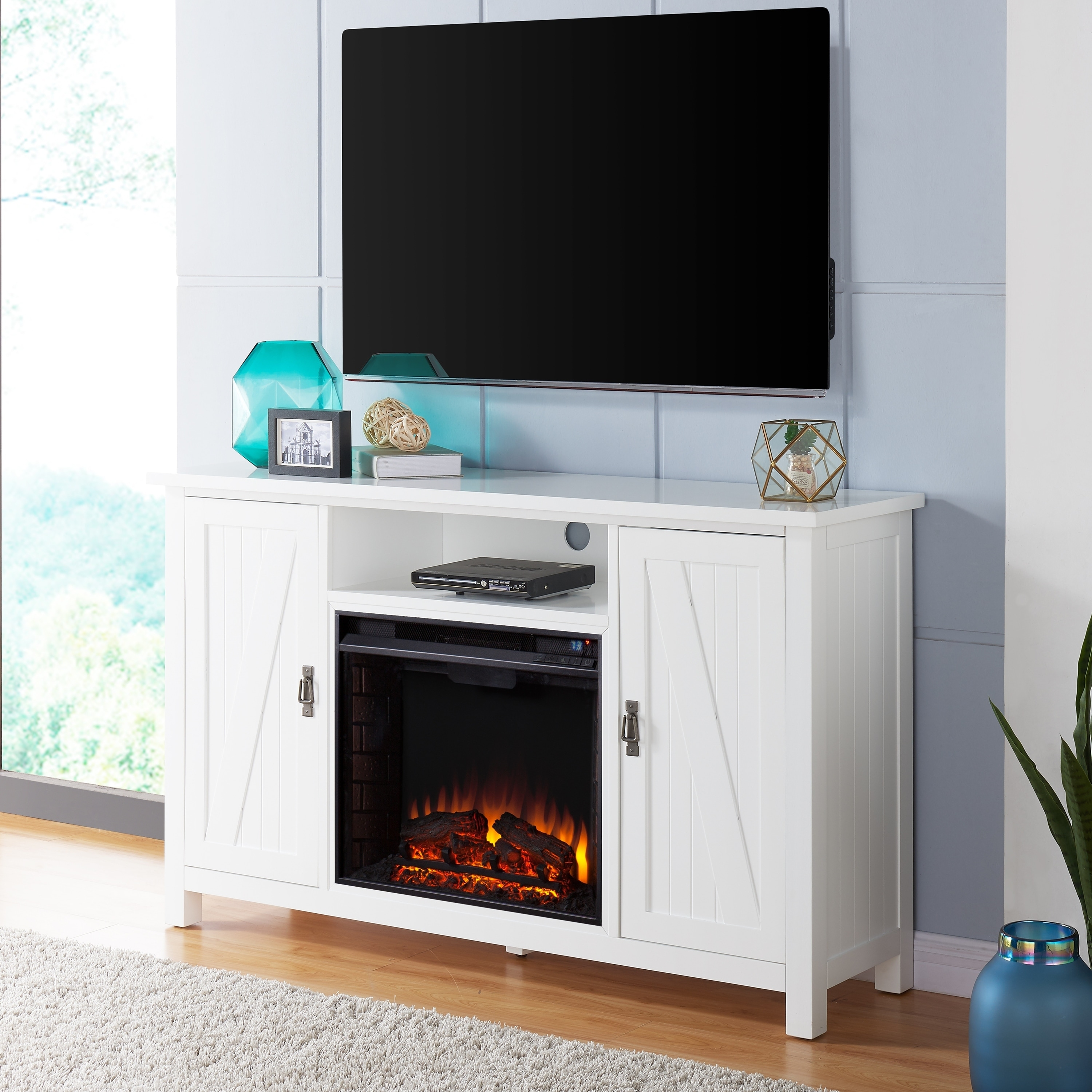 Harper Blvd Colwell Farmhouse Style Electric Fireplace TV Stand - White