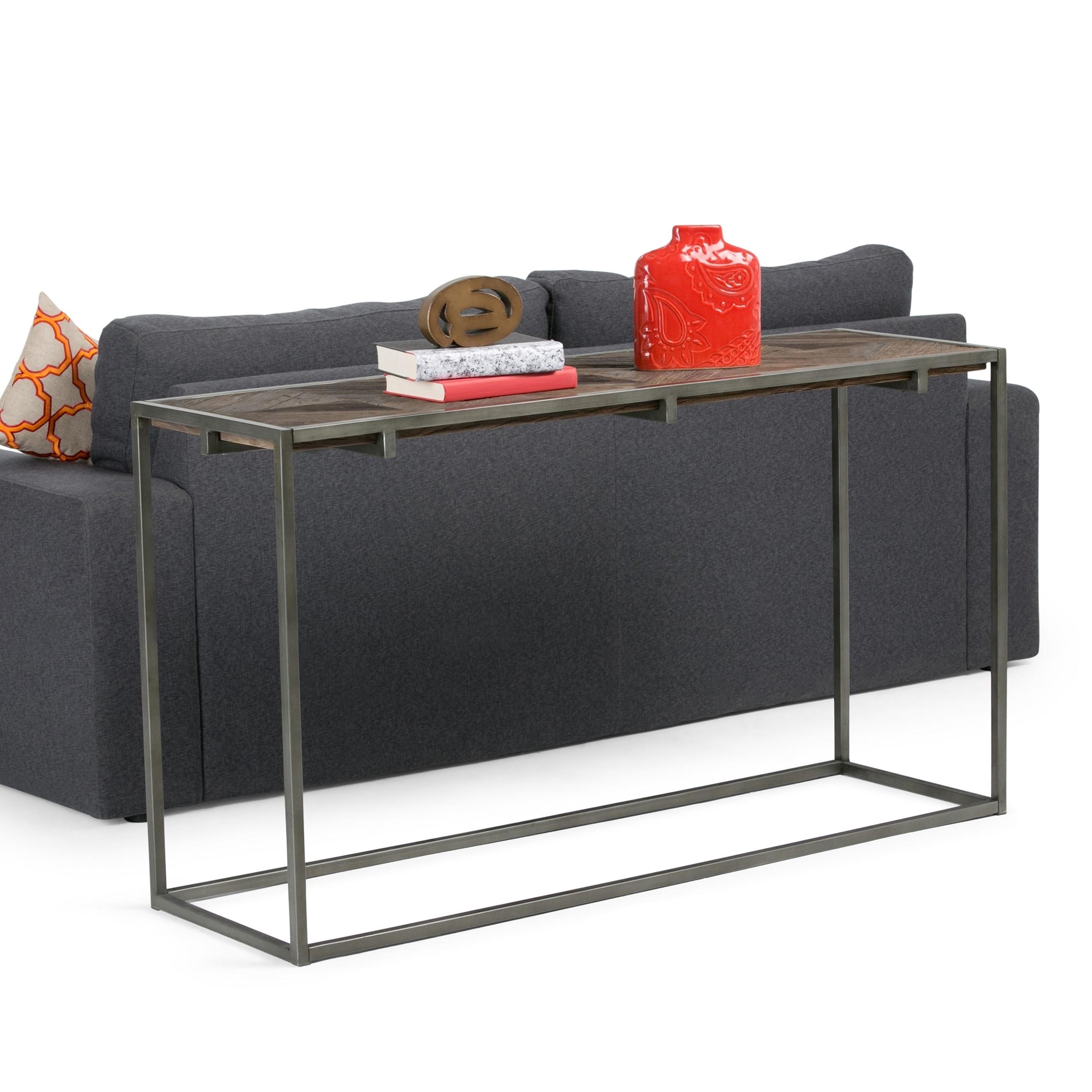 Wyndenhall Abigail Industrial Solid Distressed Elm Wood Metal Console Sofa Table 54 W X 16 D X 30 H