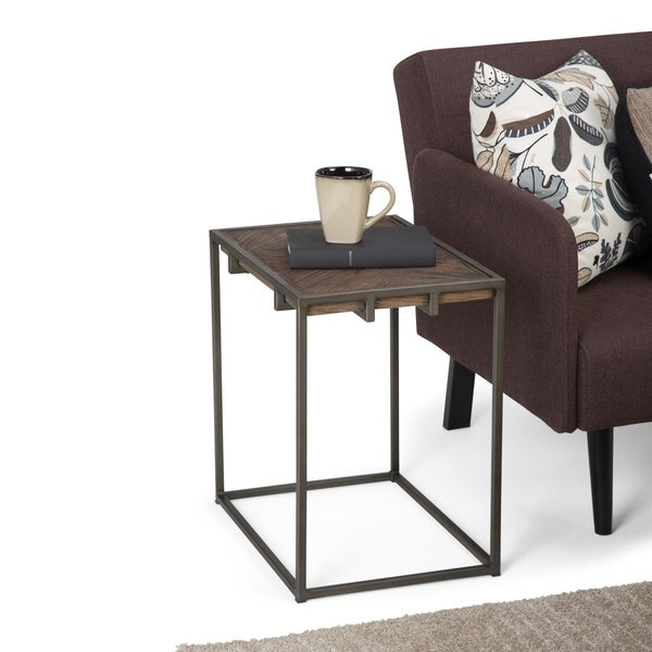 WyndenHall Abigail Solid Wood and Metal Narrow End Side Table