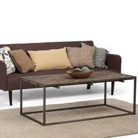 WYNDENHALL Abigail Coffee Table in Distressed Java Brown Wood Inlay