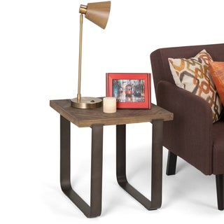 WYNDENHALL Paisley Industrial Solid Distressed Elm Wood & Metal End Side Accent Table - 20 W x 20 D x 20 H
