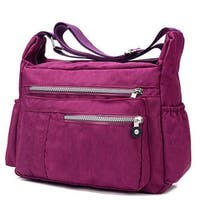 Linel Handbag Nylon 5 Zippered Pockets