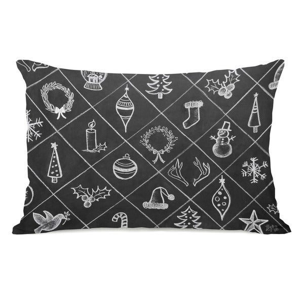 Christmas Cheer Pattern - Gray White 14x20 Throw Pillow by Lily & Val