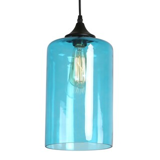 Journee Home 'Leggero' 12 in Hard Wired Glass Pendant Light With Included Edison Bulb (Option: Blue)
