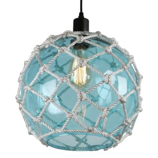 Journee Home 'Nura' 8 in Hard Wired Glass Hemp Net Pendant Light (Option