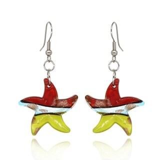 BeSheek Handmade Jewelry Murano Inspired Glass Red, Yellow and Blue Star Fashion Earrings