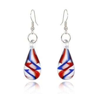 BeSheek Handmade Jewelry Murano Inspired Glass Teardrop Red, White and Blue Tornado Fashion Earrings