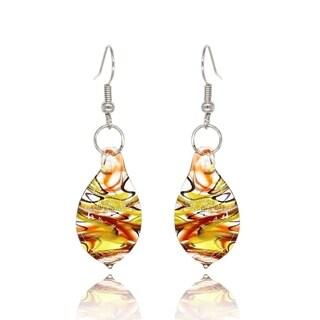 BeSheek Handmade Jewelry Glass Fire, Blue and Yellow Teardrop Fashion Earrings