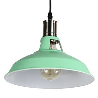 Green ceiling lights for less overstock journee home stephen 7 in industrial hard wired iron pendant light with included edison aloadofball Image collections