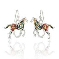 BeSheek Jewelry Hand Painted Silvertone Mosaic Horse Fashion Earrings - hook