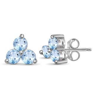JewelonFire 1.90 CT Genuine Sky Blue Topaz Earring in Sterling Silver