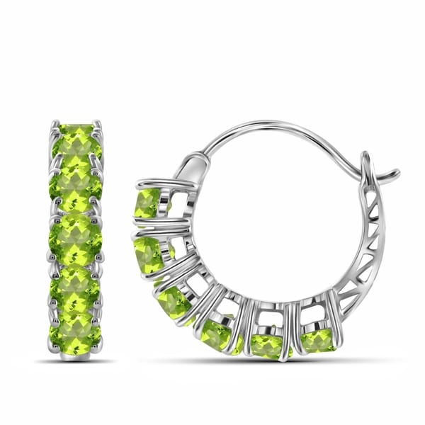 Jewelonfire 3 00 Carat Genuine Peridot Hoop Earring In Sterling Silver