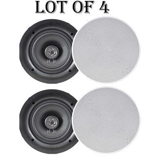 "Pyle PDIC66 6.5"" In-Wall / In-Ceiling Dual Stereo Speakers, 200 Watt, 2-Way, Flush Mount, White- 2 Pairs