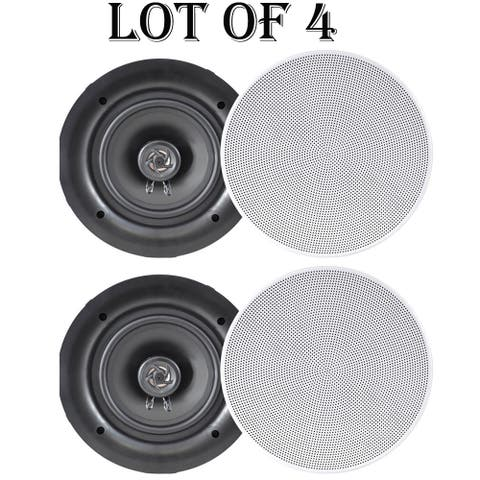 "Pyle PDIC66 6.5"" In-Wall / In-Ceiling Dual Stereo Speakers, 200 Watt, 2-Way, Flush Mount, White- 2 Pairs"