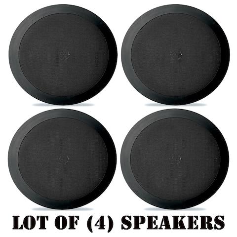Pyle PDIC51RDBK In-Wall / In-Ceiling Dual 5.25-inch Speaker System, 2-Way, Flush Mount, Black- 4 Pairs - Black