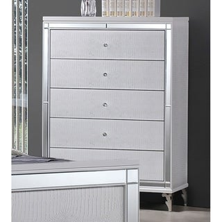 Best Quality Furniture Metallic White 5-drawer Chest
