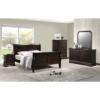 Best Quality Furniture Traditional Cappuccino 4-piece Sleigh Bedroom Set