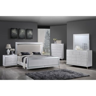 Best Quality Furniture Metallic White 4-piece Bedroom Set