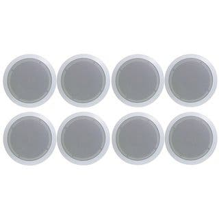 Pyle PDIC81RD In-Wall / In-Ceiling Dual 8-inch Speaker System, 2-Way, Flush Mount, White (4 PAIRS)