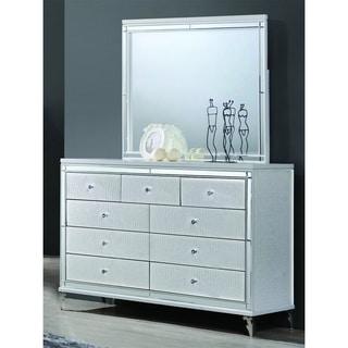 Best Quality Furniture 2 Piece Metallic White Dresser And Mirror Set