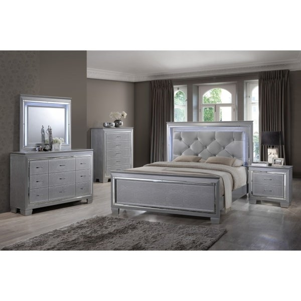 Best Quality Furniture Metallic Silver 4 Piece Bedroom Set With LED Lights