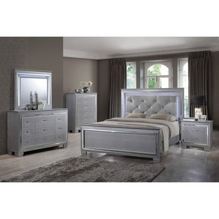 Best Quality Furniture Metallic Silver 4-piece Bedroom Set with LED Lights