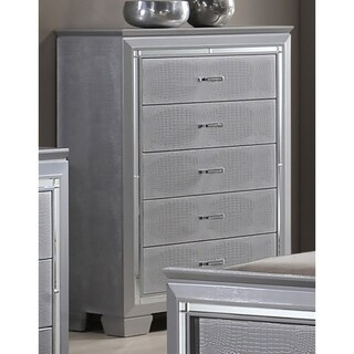 Best Quality Furniture Metallic Silver 5-drawer Chest