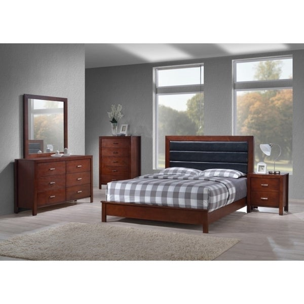 Shop best quality furniture traditional cherry 4 piece bedroom set free shipping today for Best quality bedroom furniture