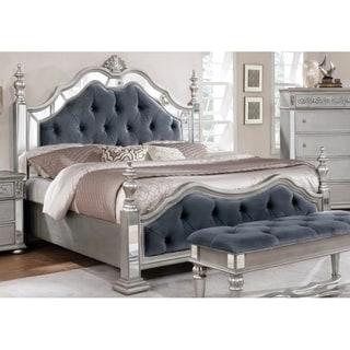 Best Quality Furniture Grey Velvet-upholstered Wood Glam Tufted Panel Bed