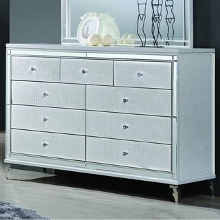 Best Quality Furniture Metallic White 9-drawer Dresser