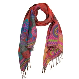 Handmade Saachi abstract Geo Floral Scarf (India)