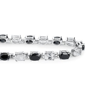 Sterling Silver 11.3 CTTW Onyx and White Topaz Tennis Bracelet - Black