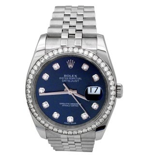 Pre-owned 36mm Rolex Stainless Steel Oyster Perptual Datejust Watch. Blue Dial with Factory Rolex Diamond Markers. Style 116244