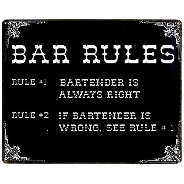 """Bar Rules"" Vintage Metal Sign Wall Décor"