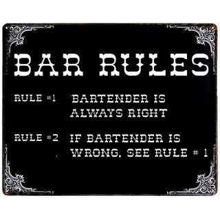 """""""Bar Rules"""" Vintage Metal Sign Wall Décor"""