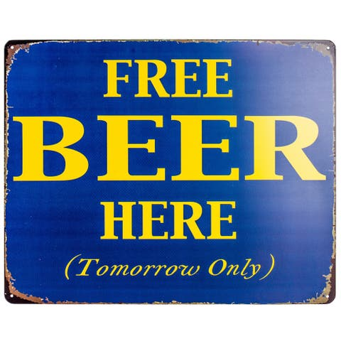 """Free Beer Here"" Vintage Metal Sign Wall Décor"