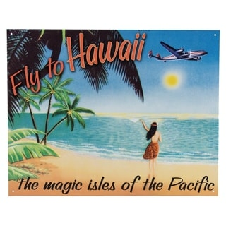 """Fly to Hawaii"" Metal Sign Wall Décor"