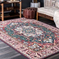 nuLOOM Traditional Fancy Heart Medallion Floral Border Red Rug (8' x 10') - 8' x 10'