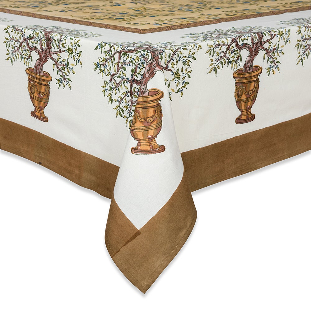 Couleur Nature Gold Olive (Green) Tree Square Tablecloth ...