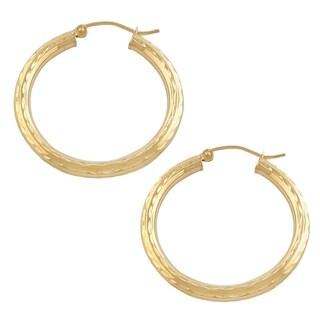 Fremada 10k Yellow Gold 3x25 millimeter Diamond-cut Hoop Earrings