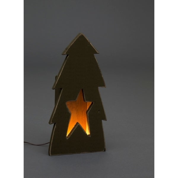 primitive rustic christmas decoration wooden christmas tree with star cutout luminary