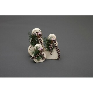 Primitive Rustic Christmas Decoration - Set of 3 Wooden Christmas Chunky Snowmen