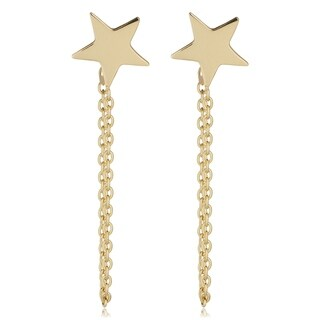 Fremada 14k Yellow Gold Drape Chain Star Earrings