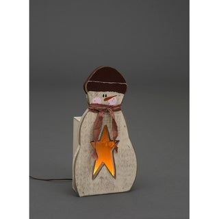 """Primitive Rustic Christmas Decoration - Wooden Luminary """"Lil' Brother"""" Snowman"""