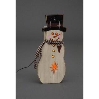 Primitive Rustic Christmas Decoration - Wooden Luminary Snowman