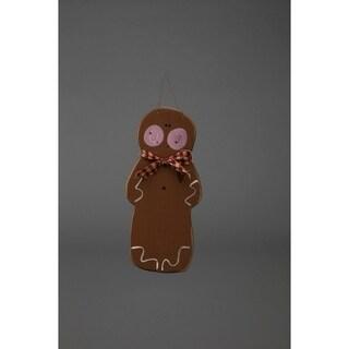 Primitive Rustic Christmas Decoration - Adorable Wooden Hanging Gingerbread Man
