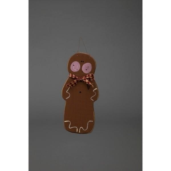 Primitive Rustic Christmas Decoration Adorable Wooden Hanging Gingerbread Man
