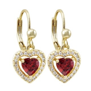 Luxiro Gold Finish Orange and White Cubic Zirconia Children's Heart Earrings