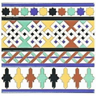 SomerTile 7.875x7.875-inch Hispalence Giralda Cenefa Ceramic Wall Border Tile (25/Case, 11.46 sqft.)