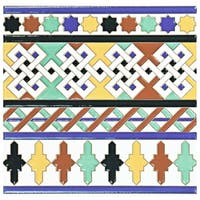 SomerTile 7.875x7.875-inch Hispalence Giralda Cenefa Ceramic Wall Border Tile (25 tiles/11.46 sqft.)